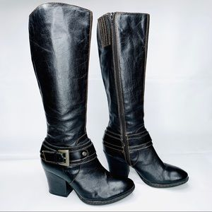 BORN Black Leather Knee High Moto Boots Sz 7
